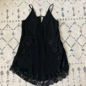 Braeve Black Lace Trimmed Slip Dress - Size S